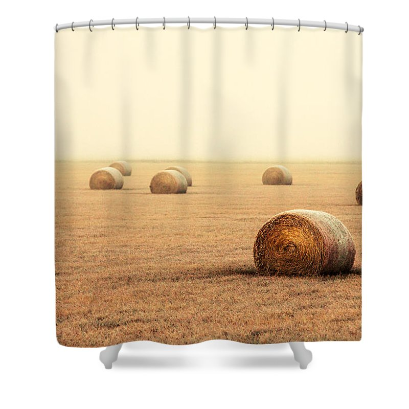 Fog Shower Curtain featuring the photograph Bales In The Fog by Todd Klassy