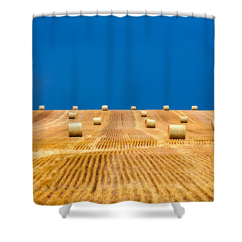 Field Shower Curtain featuring the photograph Bales On The Storm by Todd Klassy