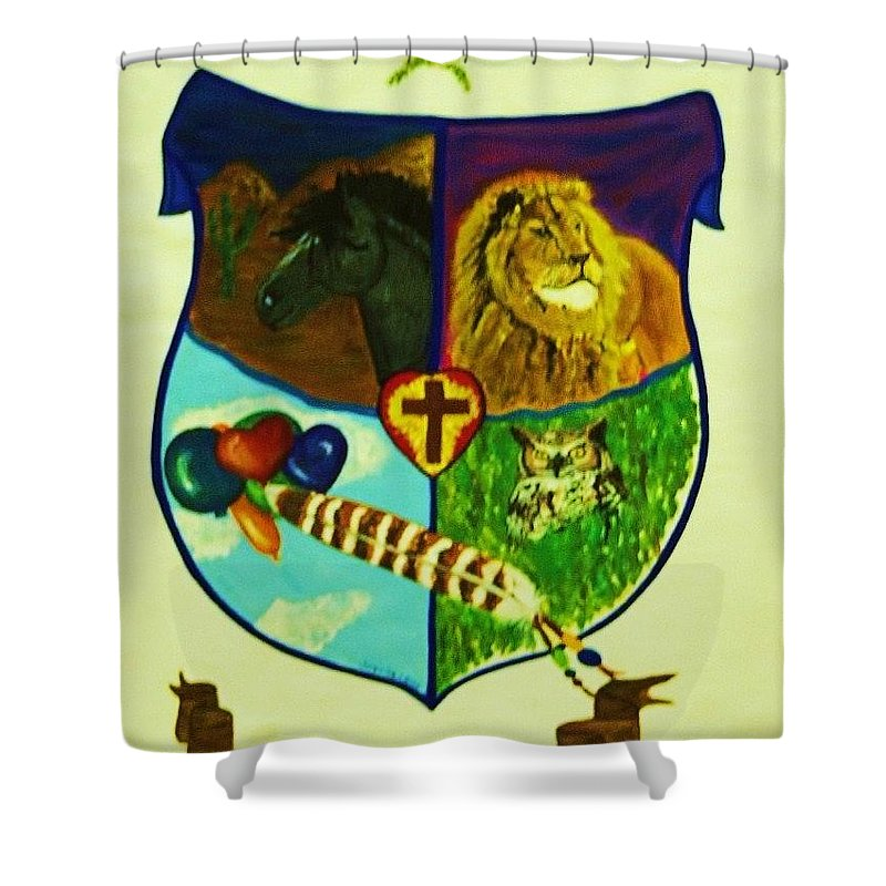 Lion Shower Curtain featuring the painting Balestar Crest by Jamey Balester