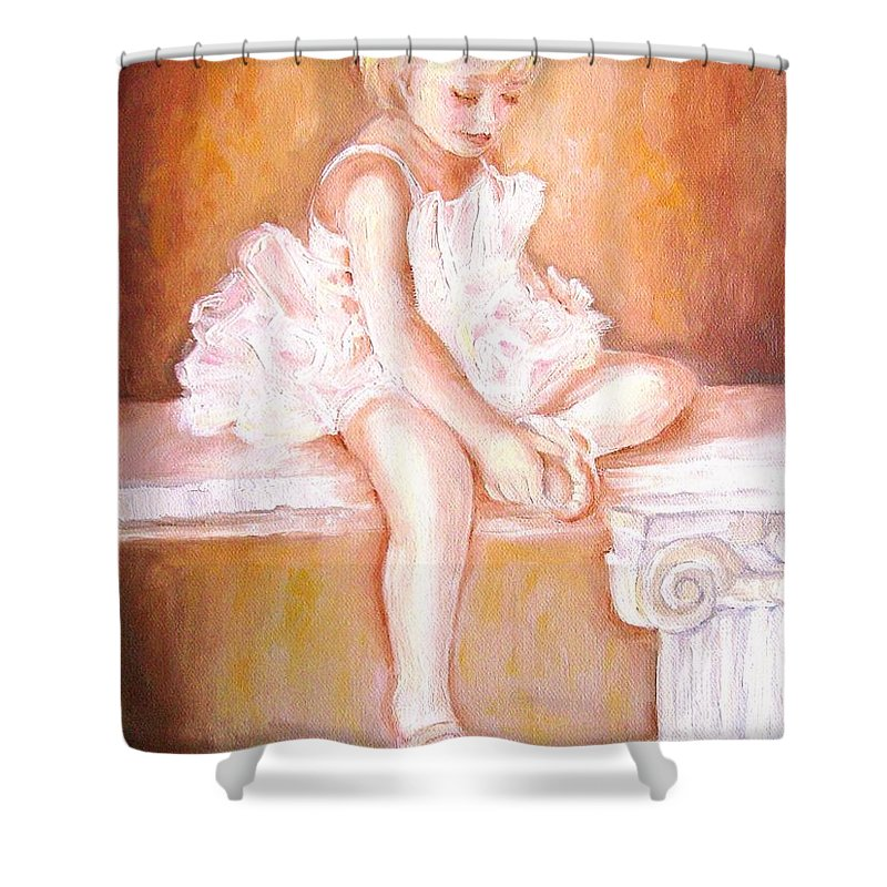 Ballerina Shower Curtain featuring the painting Ballerina by Carole Spandau