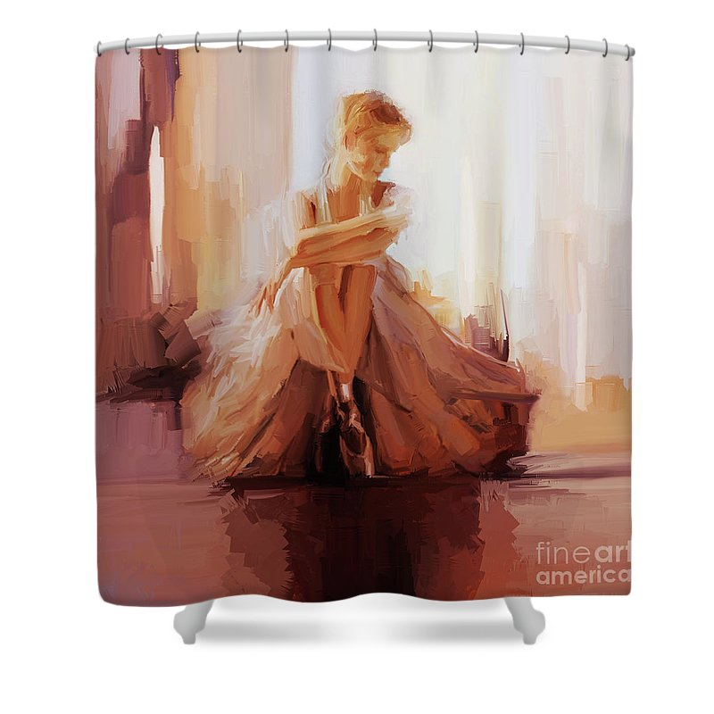 Ballerina Shower Curtain featuring the painting Ballerina Dancer Sitting On The Floor 01 by Gull G