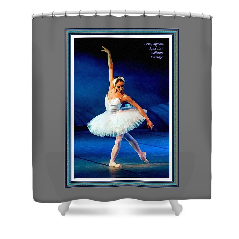 Ballet Shower Curtain featuring the painting Ballerina On Stage L A With Alt. Decorative Ornate Printed Frame. by Gert J Rheeders