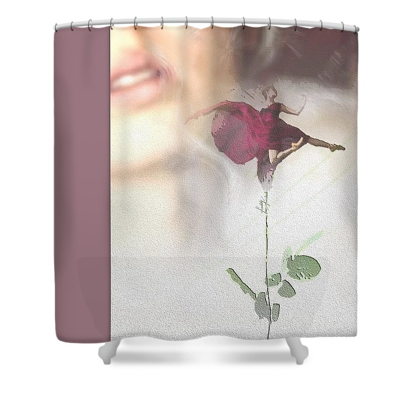 Woman Shower Curtain featuring the painting Ballerina Perfume. by Freddy Kirsheh