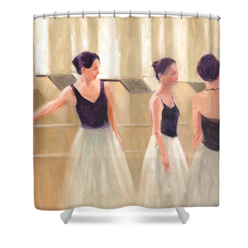 Ballet Shower Curtain featuring the painting Ballerinas Waiting by Margaret Aycock