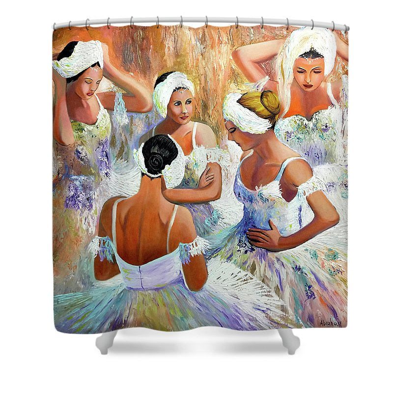 Ballet Shower Curtain featuring the painting Ballernia 4 by Jose Manuel Abraham