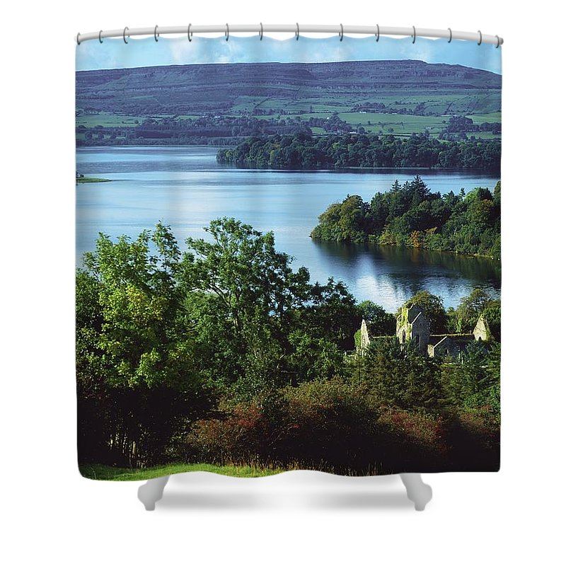 Day Shower Curtain featuring the photograph Ballindoon Abbey, Lough Arrow, County by The Irish Image Collection