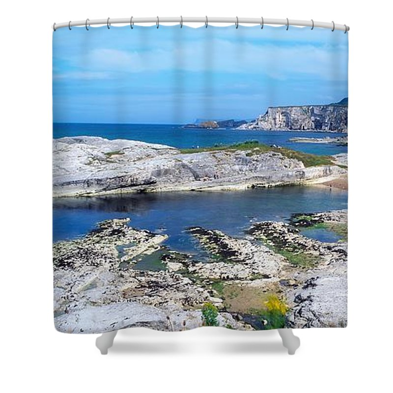 Background People Shower Curtain featuring the photograph Ballintoy Harbour, Co Antrim, Ireland by The Irish Image Collection