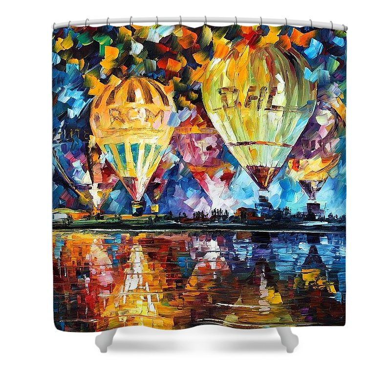 Afremov Shower Curtain featuring the painting Balloon Festival by Leonid Afremov