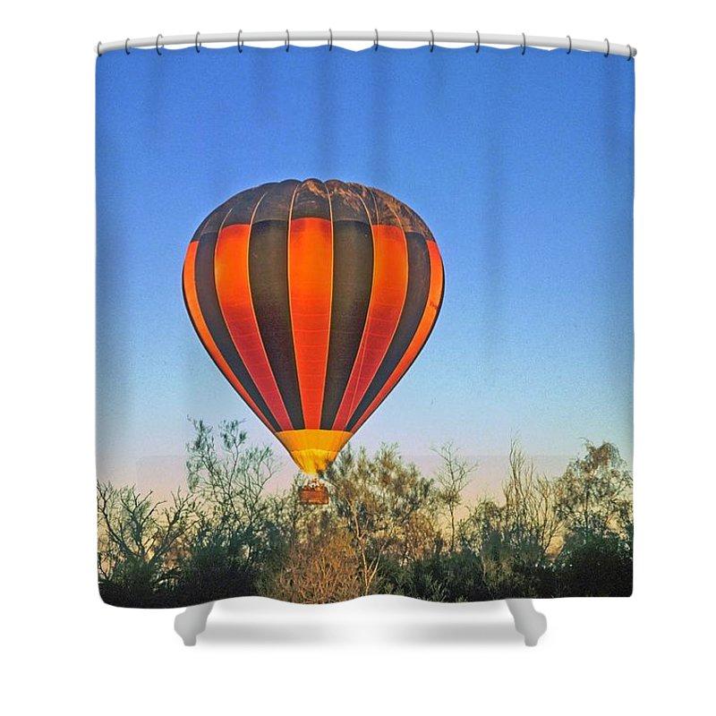Hot Air Balloon Shower Curtain featuring the photograph Balloon Launch by Gary Wonning