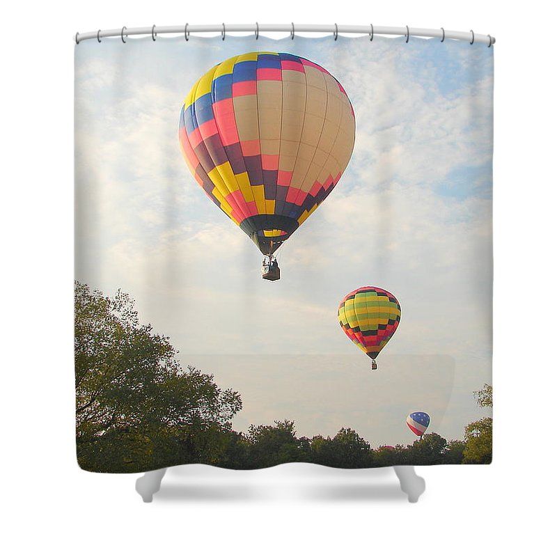 Shower Curtain featuring the photograph Balloon Race by Luciana Seymour