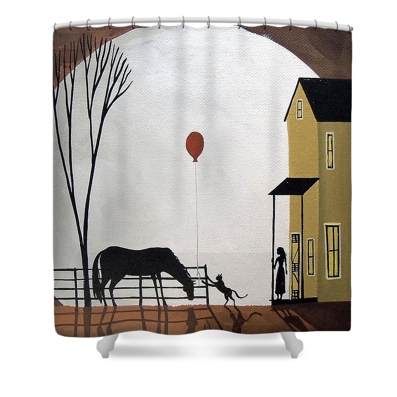 Folk Art Shower Curtain Featuring The Painting Balloon Tag
