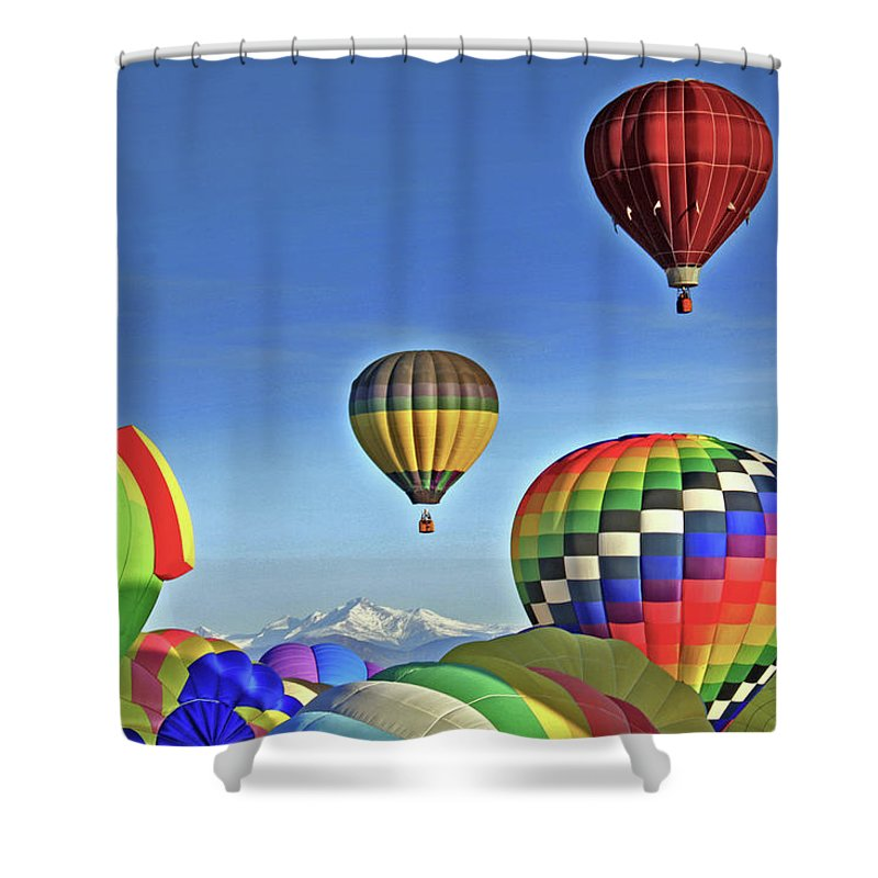 Colorado Shower Curtain featuring the photograph Ballooning Above Longs Peak by Scott Mahon