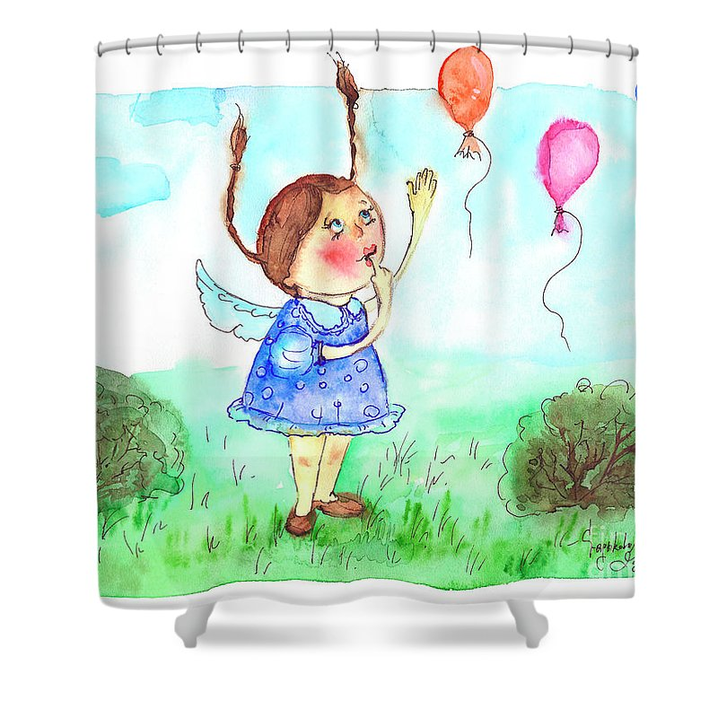 Balloons Shower Curtain featuring the painting Balloons by Yana Sadykova