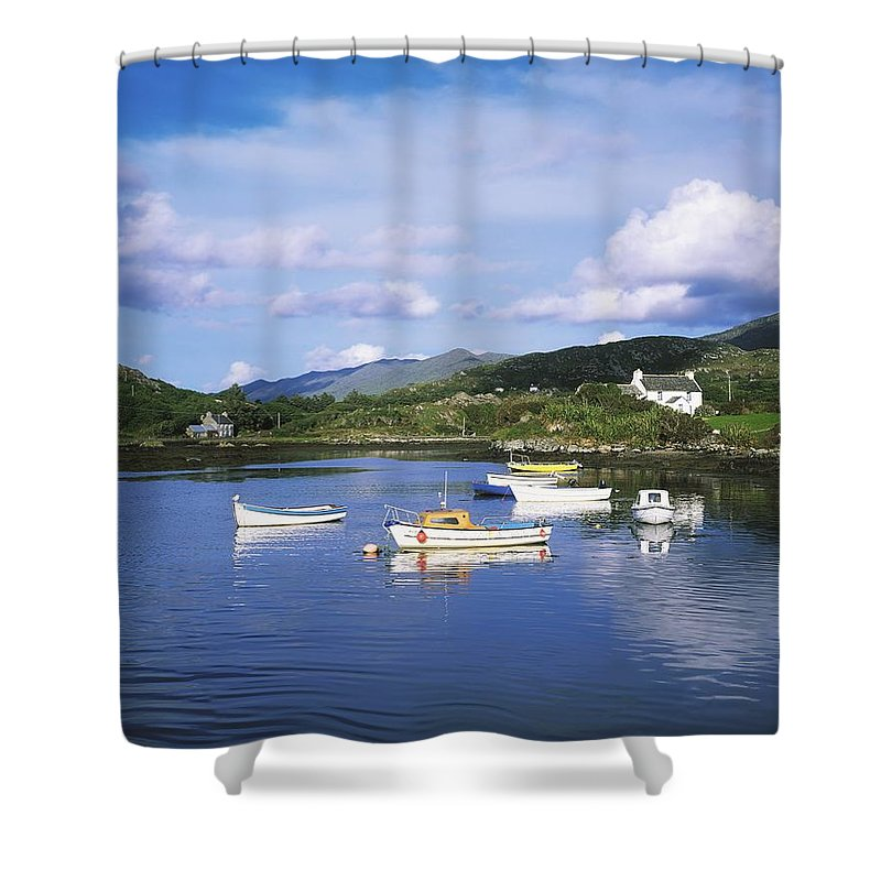 Oat Shower Curtain featuring the photograph Ballycrovane Harbour, Beara Peninsula by The Irish Image Collection