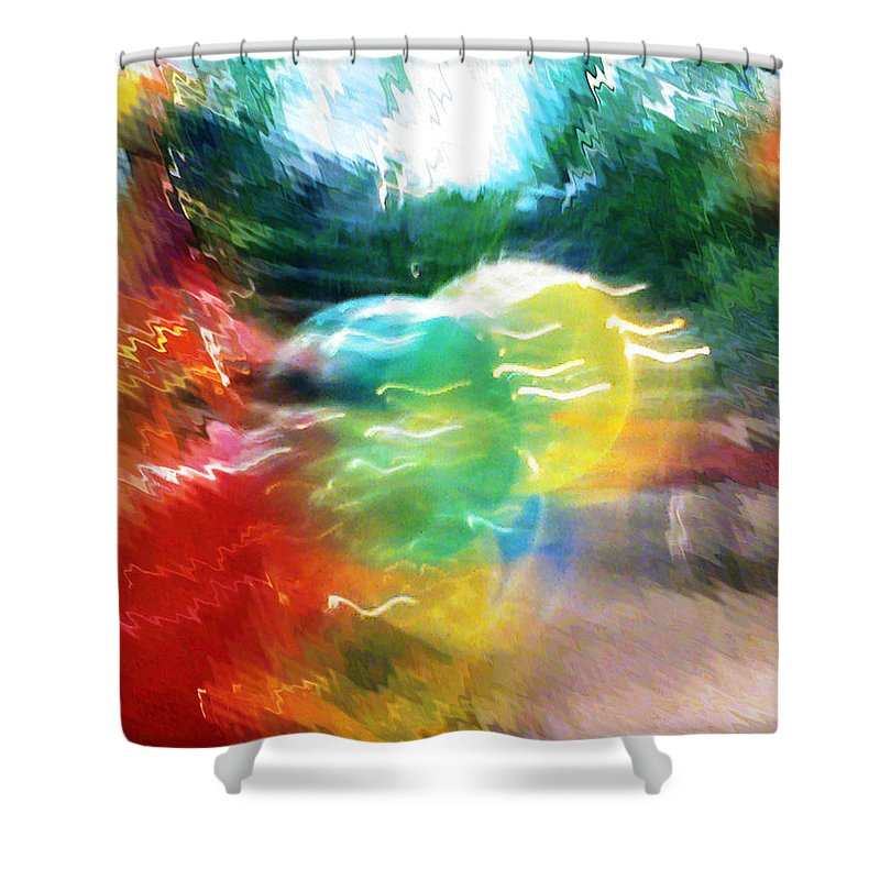 Baloons Shower Curtain featuring the painting Baloons N Lights by Anil Nene