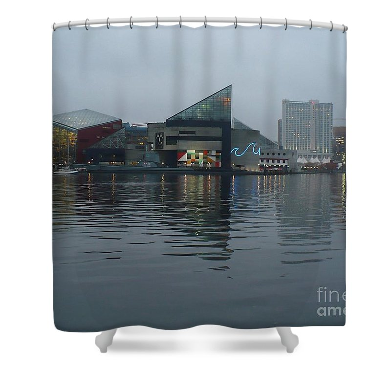 Baltimore Shower Curtain featuring the photograph Baltimore Harbor Reflection by Carol Groenen