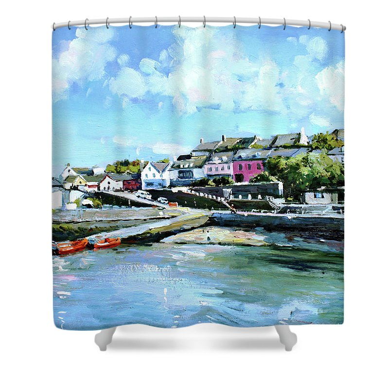 Baltimore Shower Curtain featuring the painting Baltimore Harbour County Cork by Conor McGuire