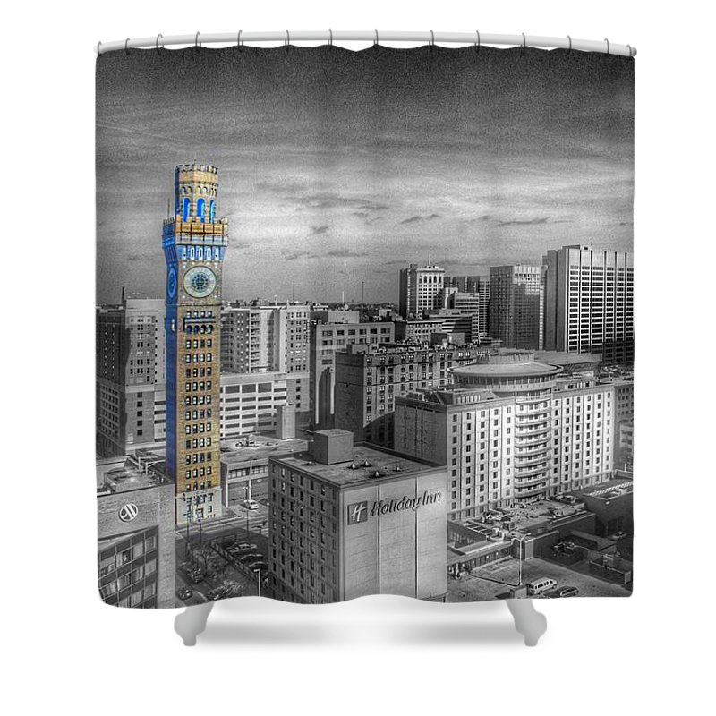 Baltimore Landscape Shower Curtain featuring the photograph Baltimore Landscape - Bromo Seltzer Arts Tower by Marianna Mills