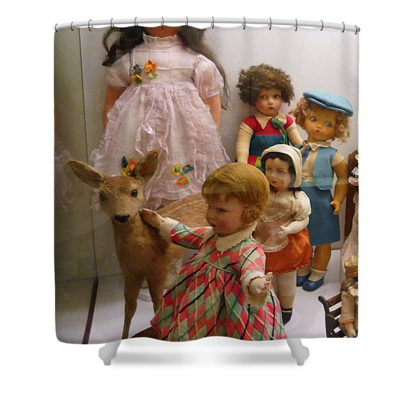 Deer Shower Curtain featuring the photograph Bambi And Baby by Charles Stuart