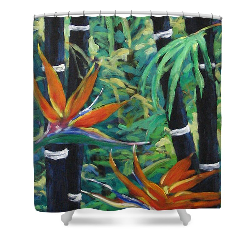 Bamboo Shower Curtain featuring the painting Bamboo And Birds Of Paradise by Richard T Pranke
