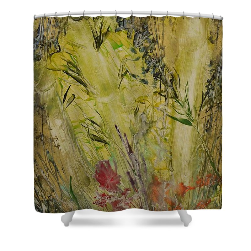 Bamboo Shower Curtain featuring the painting Bamboo In The Forest by Heather Hennick