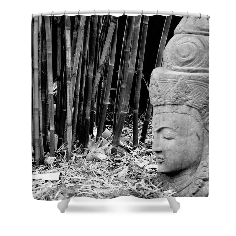 Landscape Shower Curtain featuring the photograph Bamboo Landscape Statue Asian by Chuck Kuhn