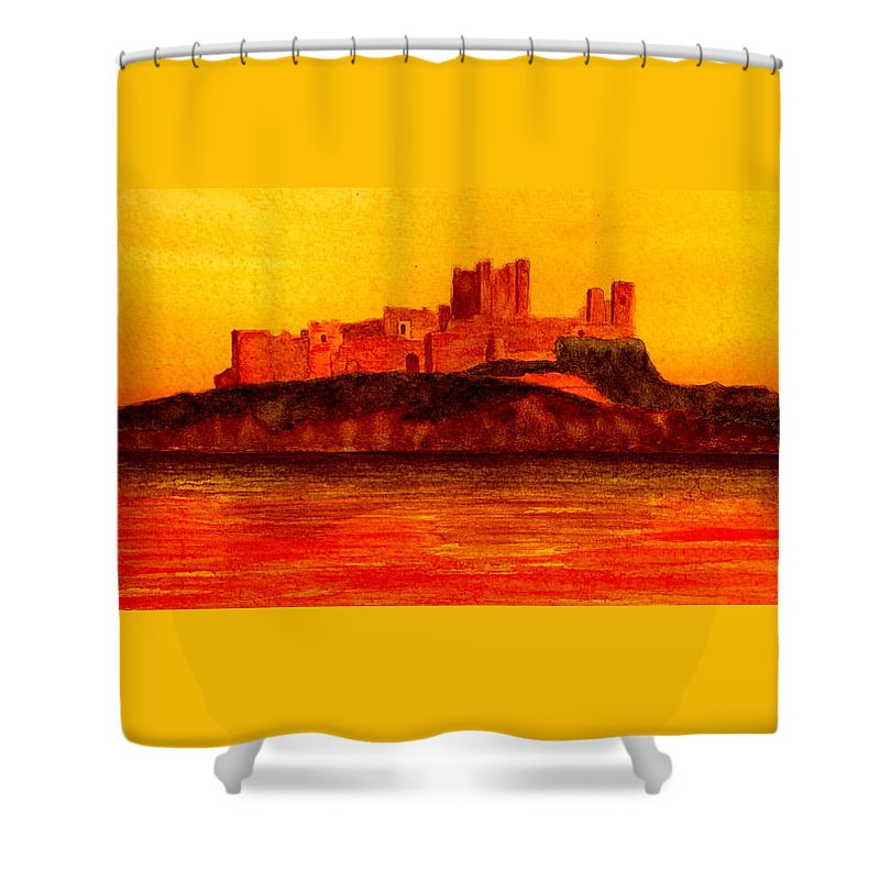 Castle Shower Curtain featuring the painting Bamburgh Castle by Michael Vigliotti