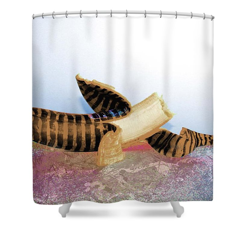 Banana Shower Curtain featuring the painting Banana Art 1 by Artist Singh