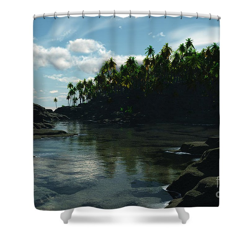Rivers Shower Curtain featuring the digital art Banana River by Richard Rizzo
