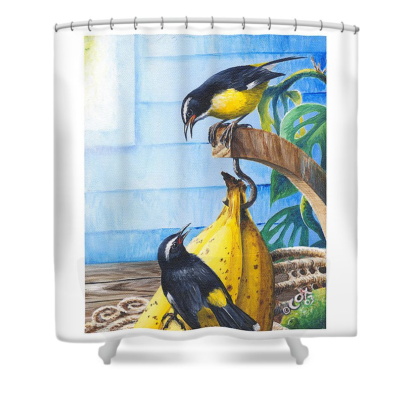 Chris Cox Shower Curtain featuring the painting Bananaquits And Bananas by Christopher Cox