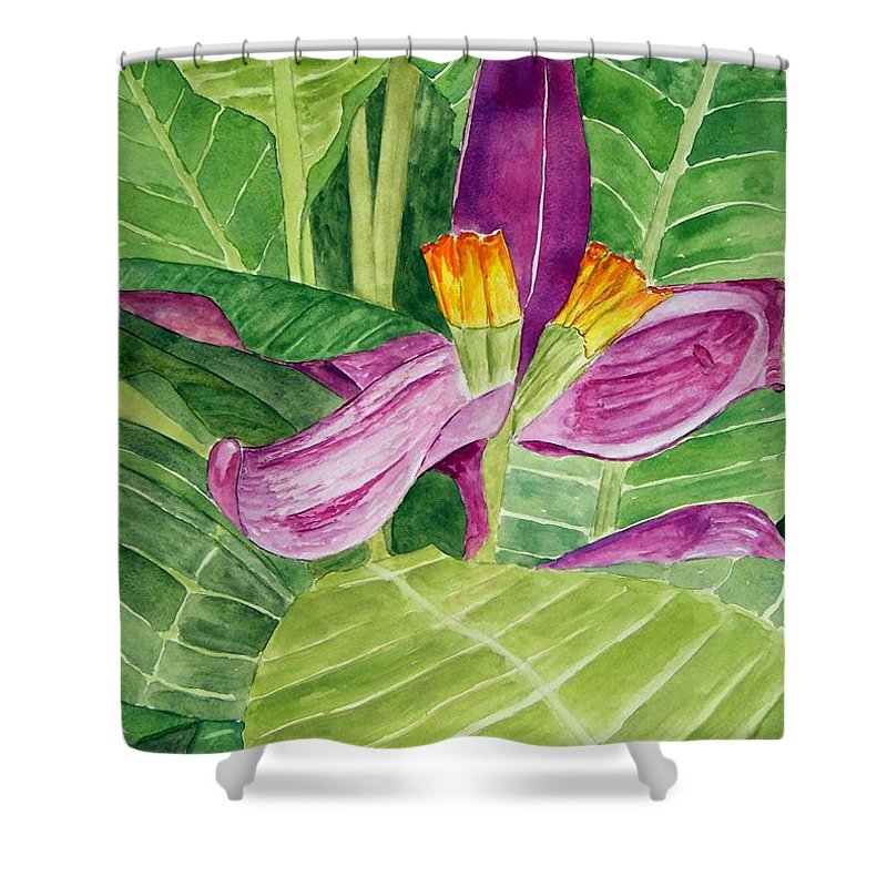 Flower Art Shower Curtain featuring the painting Bananas In October by Larry Wright