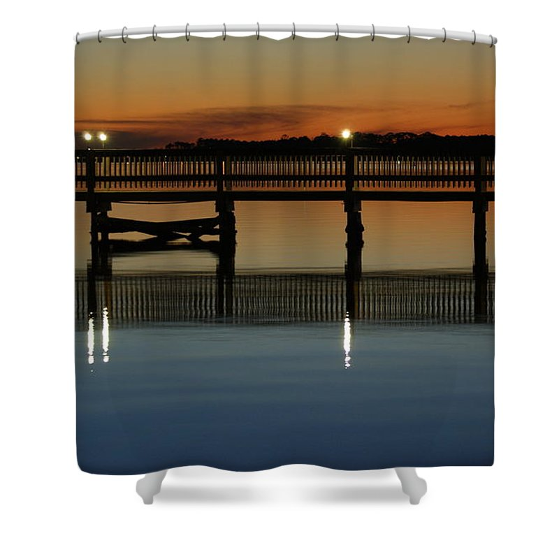 Pier Shower Curtain featuring the photograph Calm Waters by Jennifer Diaz