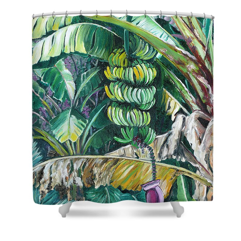 Caribbean Painting Bananas Trees P Painting Fruit Painting Tropical Painting Shower Curtain featuring the painting Bananas by Karin Dawn Kelshall- Best