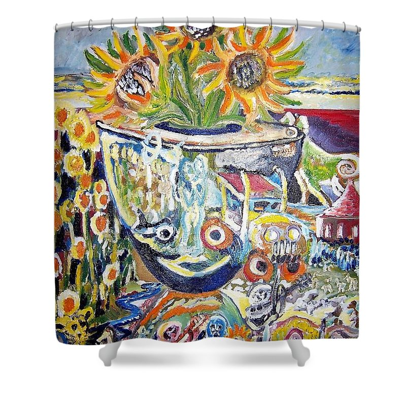Sunflowers Shower Curtain featuring the painting Band 4 Sunflowers Three by Timothy Foley
