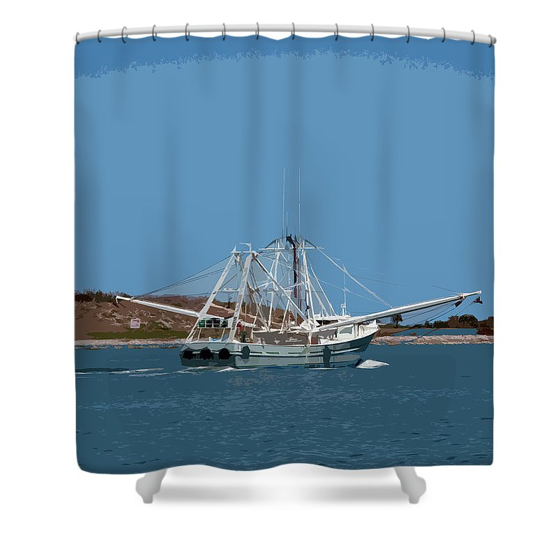 Florida Shower Curtain featuring the painting Band Of Gold Departing Port Canaveral by Allan Hughes