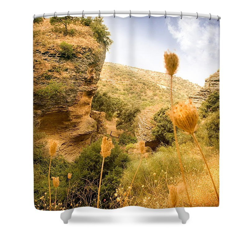 Spain Shower Curtain featuring the photograph Bandit Country Near The Edge Of The Fan In Ronda Area Andalucia Spain by Mal Bray