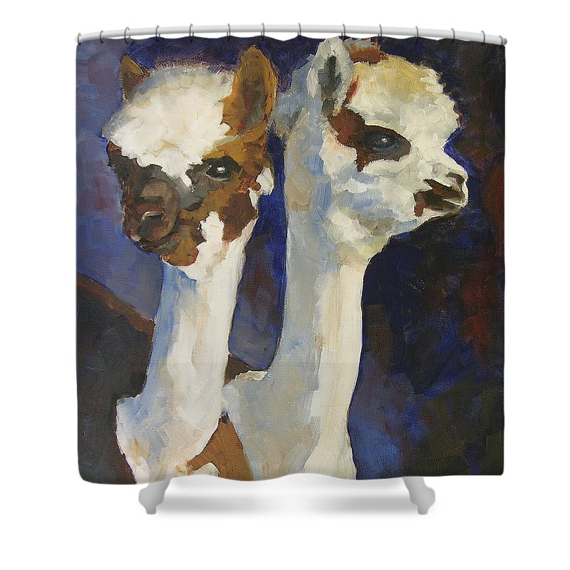 Alpacas Shower Curtain featuring the painting Bandolero And Carlos by Mary McInnis