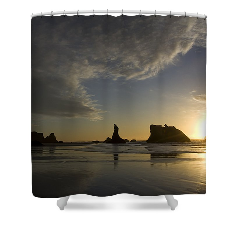 Oregon Usa Shower Curtain featuring the photograph Bandon Sunset 4 by Bob Christopher