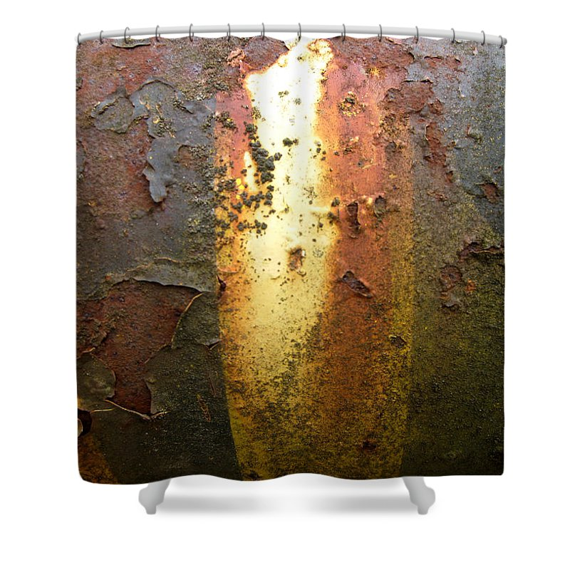 Weathered Metal Shower Curtain featuring the photograph Bands Of Color by Elaine Booth-Kallweit