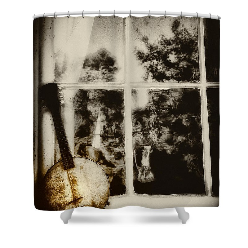 Banjo Shower Curtain featuring the photograph Banjo Mandolin In The Window In Black And White by Bill Cannon