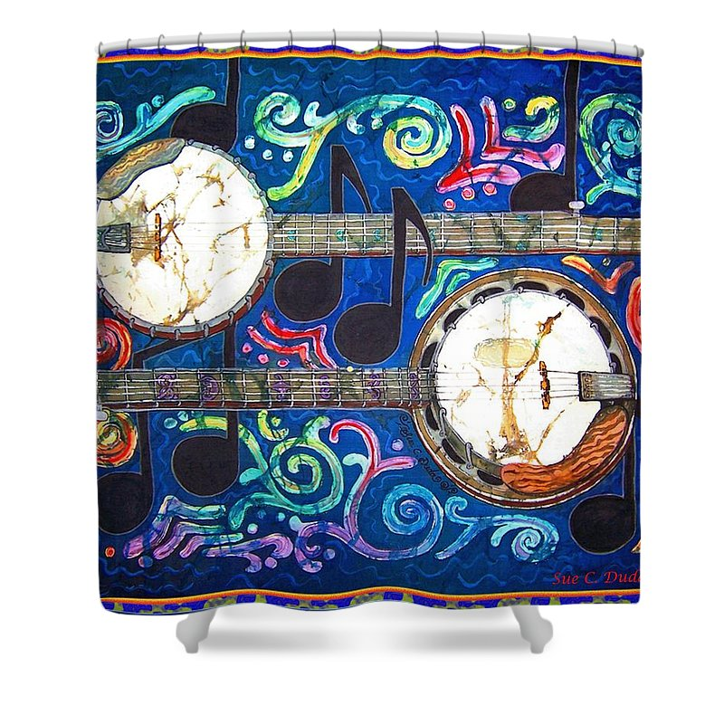 Banjo Shower Curtain featuring the painting Banjos - Bordered by Sue Duda