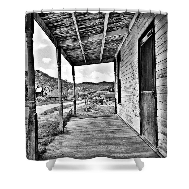 Bannack Montana Shower Curtain featuring the digital art Bannack Mt. 8 by Susan Kinney