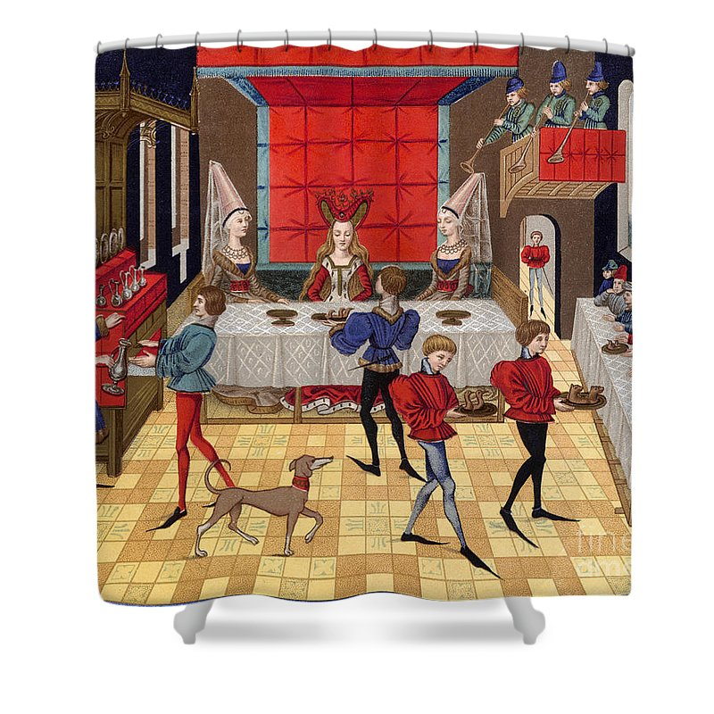 15th Century Shower Curtain featuring the photograph Banquet, 15th Century by Granger