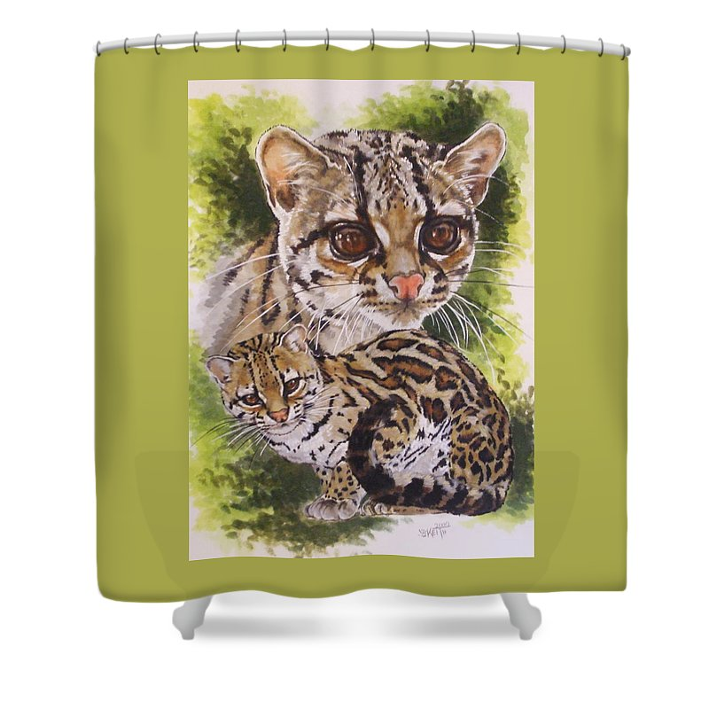 Margay Shower Curtain featuring the mixed media Bantam by Barbara Keith