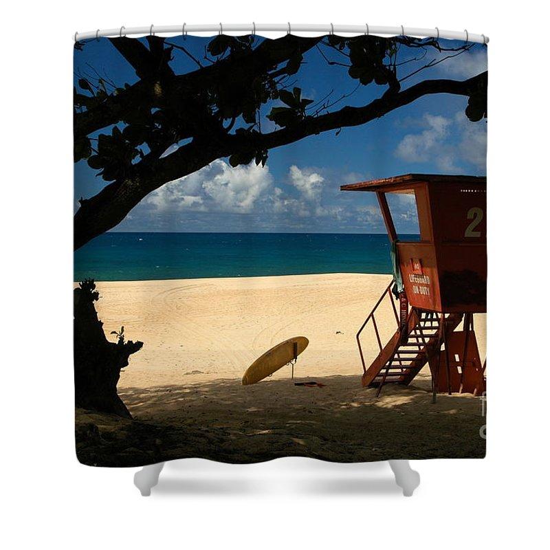 Oahu Shower Curtain featuring the photograph Banzai Beach by Mark Gilman
