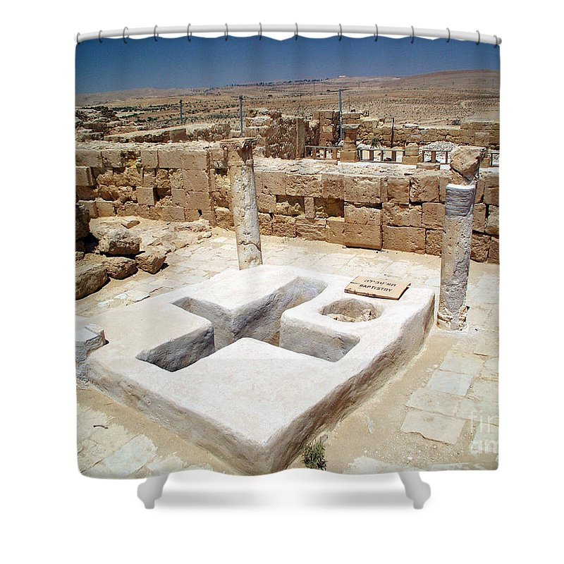 Baptistery Shower Curtain featuring the photograph Baptistery Eastern Church Mamshit Israel by Avi Horovitz