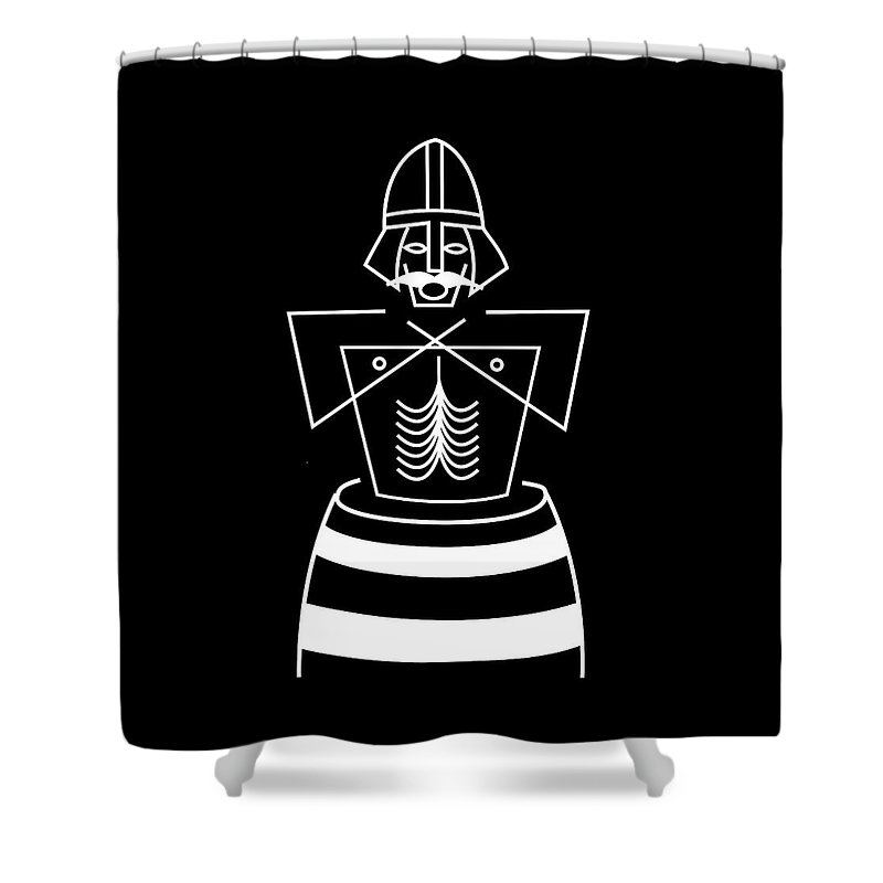 King Harold Bluetooth Shower Curtain featuring the mixed media Baptizing Harold Bluetooth by Asbjorn Lonvig