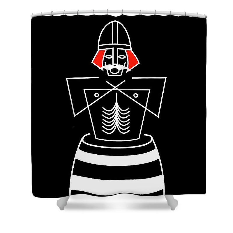 Shower Curtain featuring the mixed media Baptizing Harold Bluetooth in colors by Asbjorn Lonvig