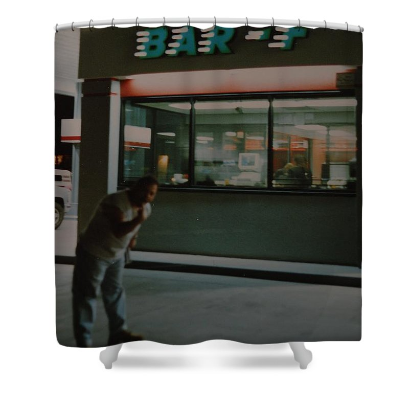 Funny Shower Curtain featuring the photograph Bar F by Rob Hans