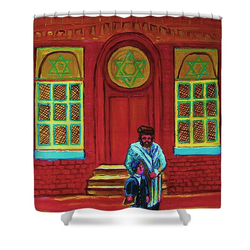 Synagogues Shower Curtain featuring the painting Bar Mitzvah Lesson At The Synagogue by Carole Spandau